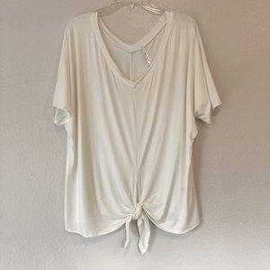 Dolman sleeve T-shirt with tie front